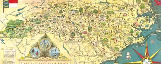 A portion of a 1960 map highlighting the history, industry and beauty of North Carolina.