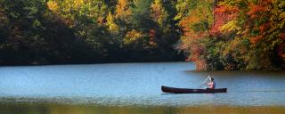 Canoeing across the lake at Hanging Rock State Park