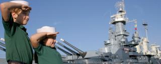 Kids Saluting at the Battleship North Carolina Tour