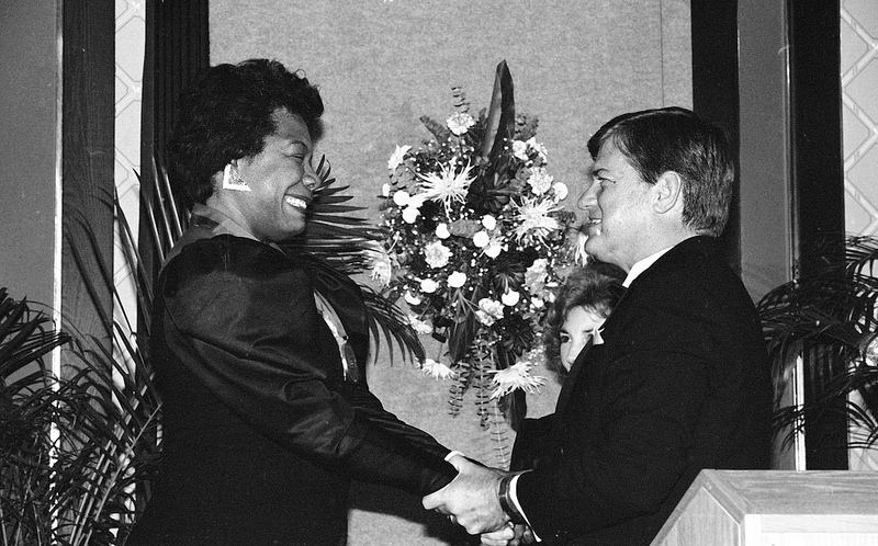 Author and poet Maya Angelou receives the North Carolina Award in 1987 from Gov. Jim Martin. Image from the State Archives.