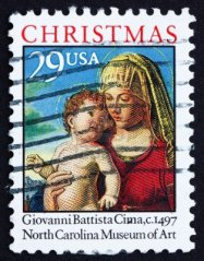 """Madonna and Child in a Landscape"" USPS Stamp"