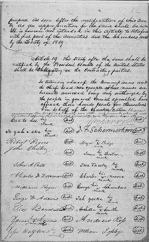 The signature page of the Treaty of New Echota. Image from the National Archives.