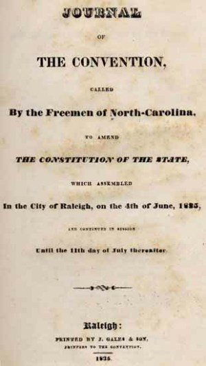 The cover of the journal of 1835 convention. Image from UNC-Chapel Hill Libraries.