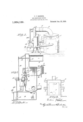 A 1918 patent for an air-moistening device invented by Bahnson's brother Frederic.