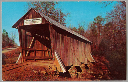 A postcard of the Pisgah Covered Bridge in 1969. Image from the  N.C. Museum of History