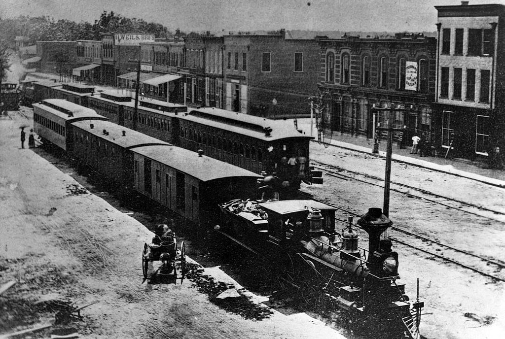 Locomotives in downtown Goldsboro, circa 1870. Image from the State Archives.