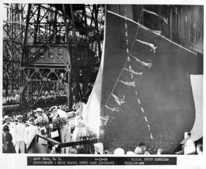 The USS North Carolina being christened on June 13, 1940. Image from the State Archives