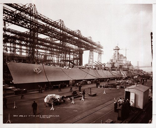The North Carolina in the Brooklyn Navy Yard in 1941. Image from the State Archives