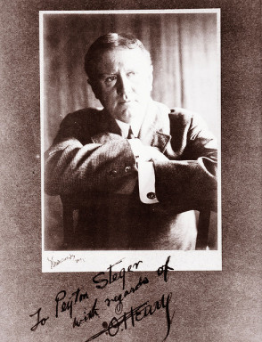 An autographed image of O. Henry held by the State Archives