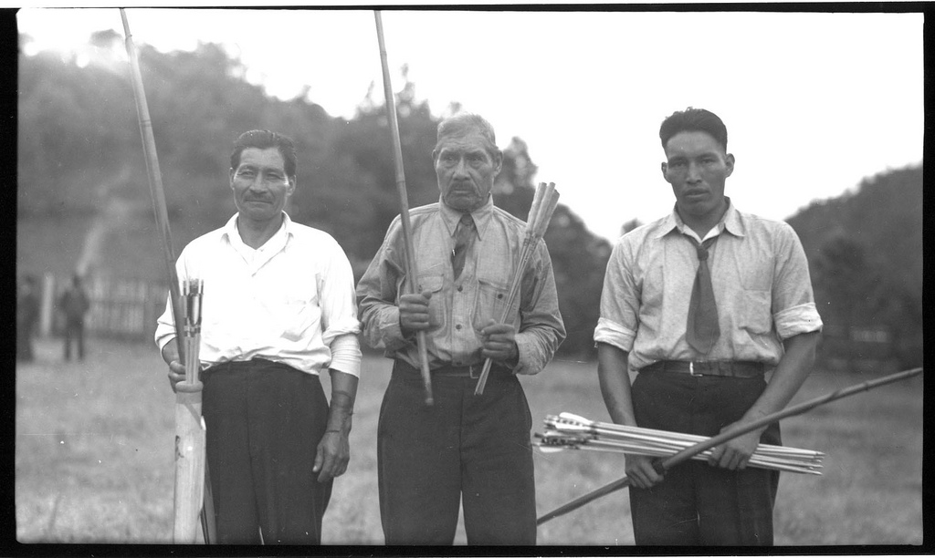 Cherokees at the Cherokee Indian Reservation in 1936. Image from the State Archives.