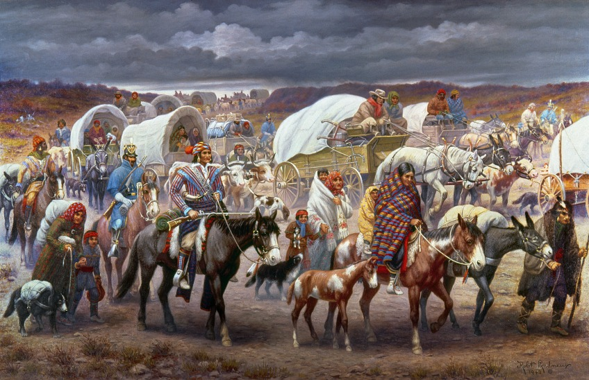 A painting of the Trail of Tears by Robert Lindneux. Image from the National Library of Medicine.