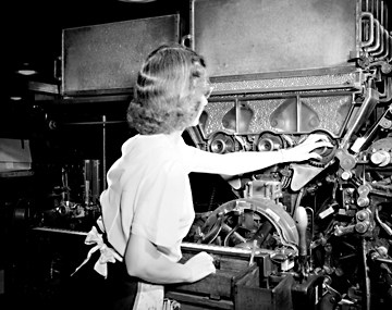 A worker in a Reynolds Plant in 1947. Image from the State Archives