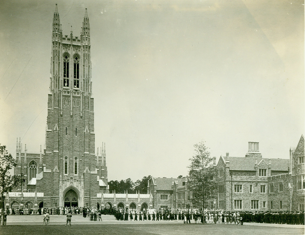 The chapel shortly after being dedicated during Duke's commencement ceremony. Image from the Duke University Archives.