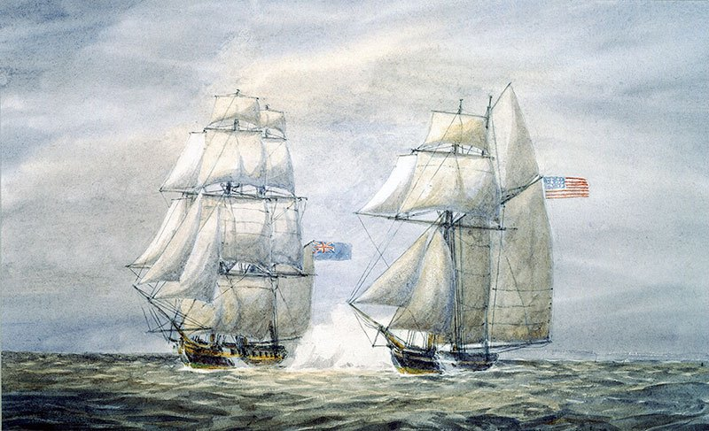 A painting of the HMS Martin capturing the American privateer Snap Dragon. Image from the Canadian War Museum.