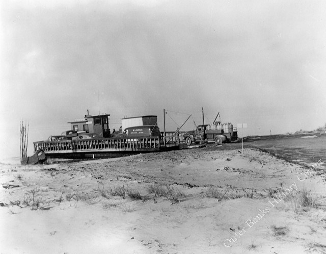 A Hatteras Inlet ferry during the 1940s. Image from the Outer Banks History Center