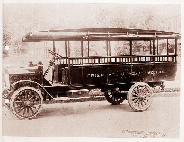 A circa 1917 school bus made for the Pamlico County Schools. Image from the State Archives.