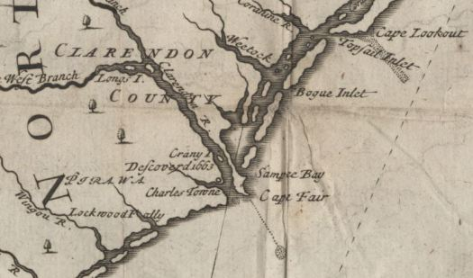 Charles Town in the now defunct Clarendon County shown on a map of area. Image from the State Archives.