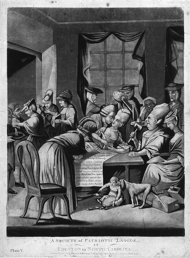 An engraving of the Edenton Tea Pary. Image from the N.C. Museum of History.