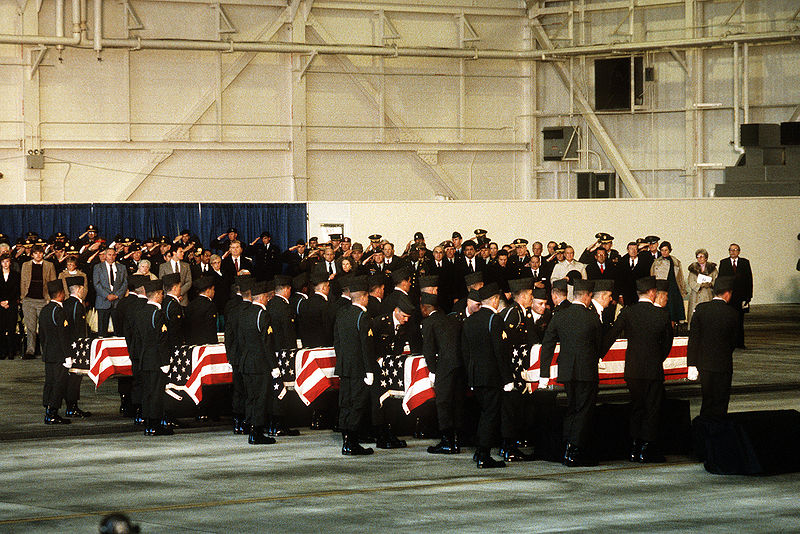 The funeral procession for some members of the 101st Airborne who died in the Gander crash. Image from the U.S. Department of Defense.