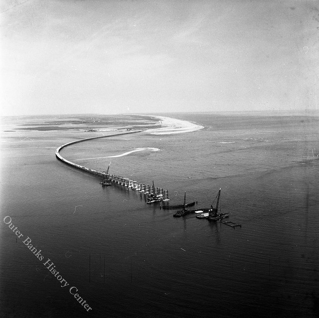 The Bonner Bridge being constructed over Oregon Inlet in 1963. Image from the Outer Banks History Center