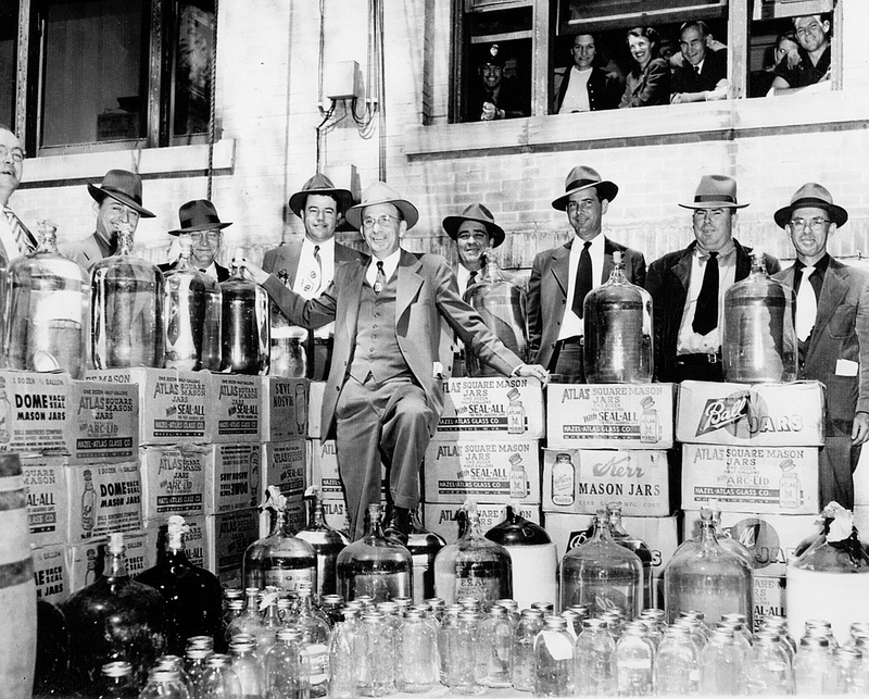 A 1951 moonshine bust in Johnston County. Image from the State Archives.