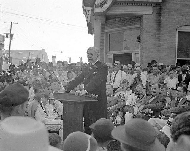 Gov. Clyde Hoey speaks at the opening of a tobacco market in Rocky Mount in 1938. Image from the State Archives