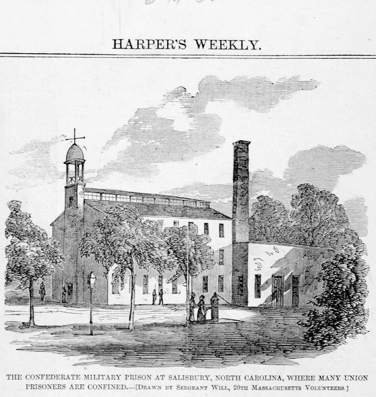 An 1862 sketch of Salisbury Prison from the State Archives