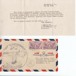 A letter celebrating National Air Mail Week in 1938. Image from the N.C. Museum of History