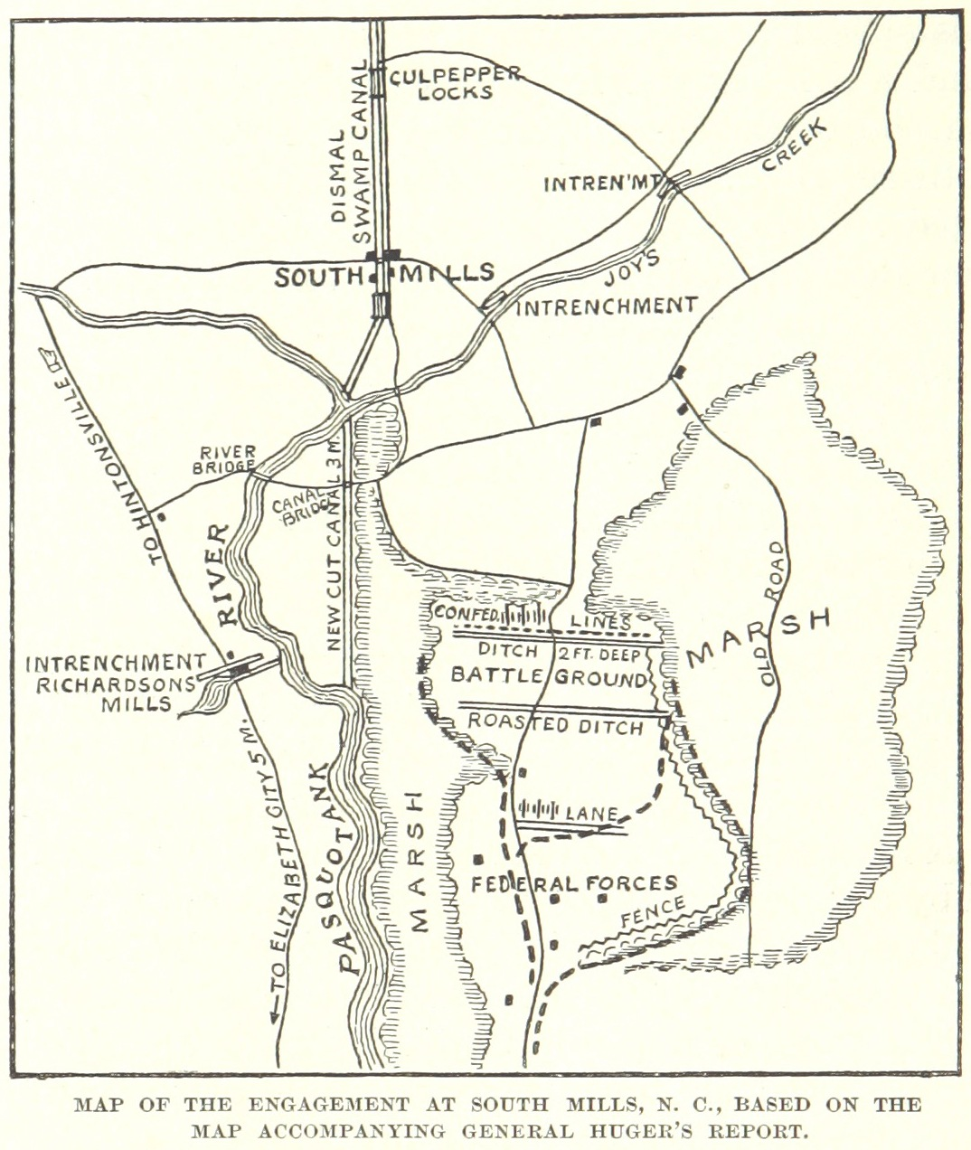 A map of the Battle of South Mills. Image from the British Museum.