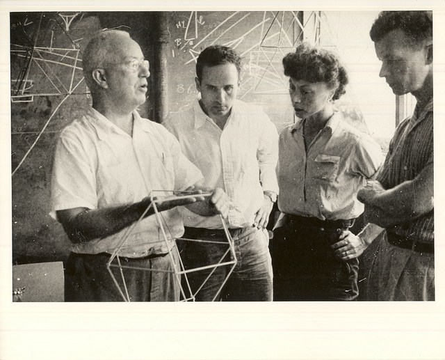 Buckminster Fuller with colleagues at Black Mountain College.