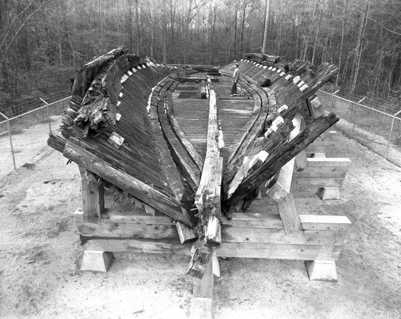 The hull of the CSS Neuse in 1965