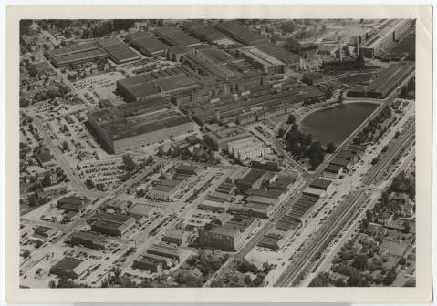 An aerial shot of Cannon Mills from the Photographic Archives at UNC-Chapel Hill