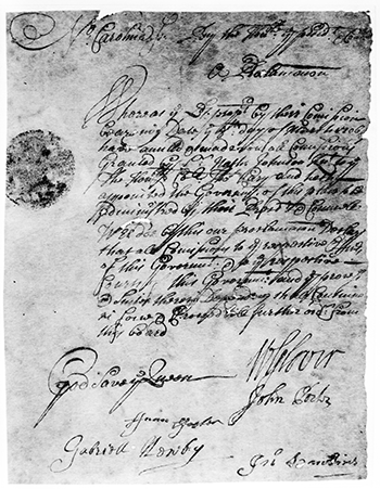 A 1708 proclamation concerning Cary. Image from the State Archives.