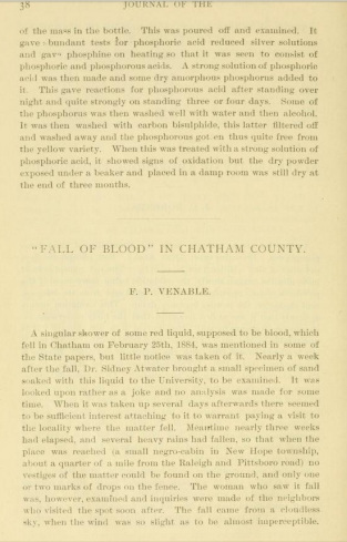 "The first page of a journal article by F. B. Venable on the Chatham County ""Blood Shower."""