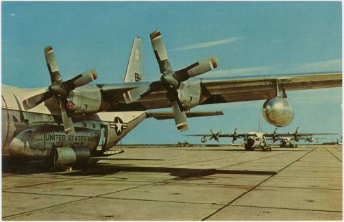 A post card showing planes lining up on the tarmac at Marine Corps Station, Cherry Point.