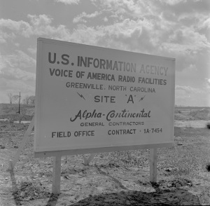A sign announcing the construction of the VoA facility in Greenville