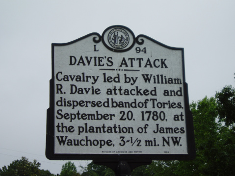 Davie's Attack - Calvary led by William R. Davie attacked and dispersed band of Tories, September 20, 1780, at the plantation of James Wauchope, 3 ~ 1/2 mi. NW.