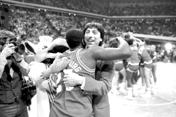 Derrick Wittenburg and Jim Valvano at the 1983 NCAA championship game