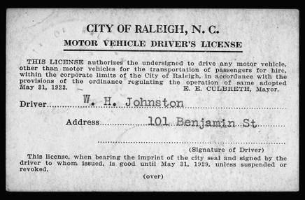 A pre-Division of Motor Vehicles driver's license issued by the city of Raleigh in either 1928 or 1929 that is now in the N.C. Museum of History's collection