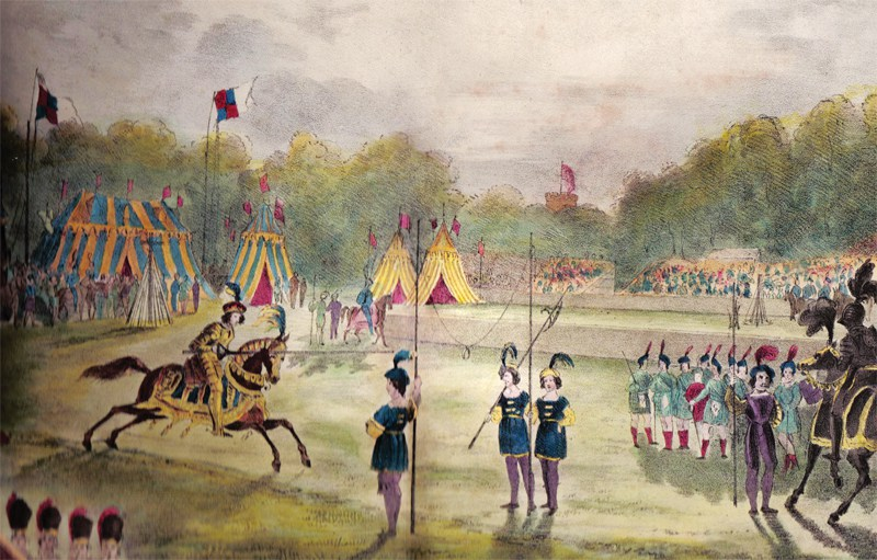 Medieval tournaments like this one were the inspiration for the tournament at Shocco Springs and similar events across the South. Image from Tallahassee Magazine.