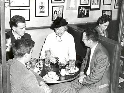 Eleanor Roosevelt eats in Chapel Hill during her February 1950 visit to North Carolina. Image from the North Carolina Collection