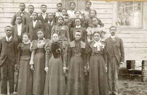 Principal Peter W. Moore and students at what's now Elizabeth City  State University in 1899.