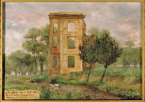 An circa 1900-1910 oil painting of the Fayetteville Arsenal after its destruction, now in the collection of the N.C. Museum of History