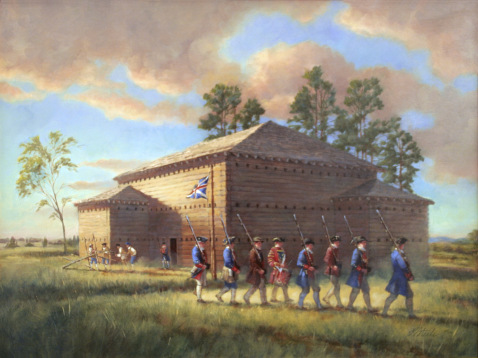 An artist's rendering of Fort Dobbs.