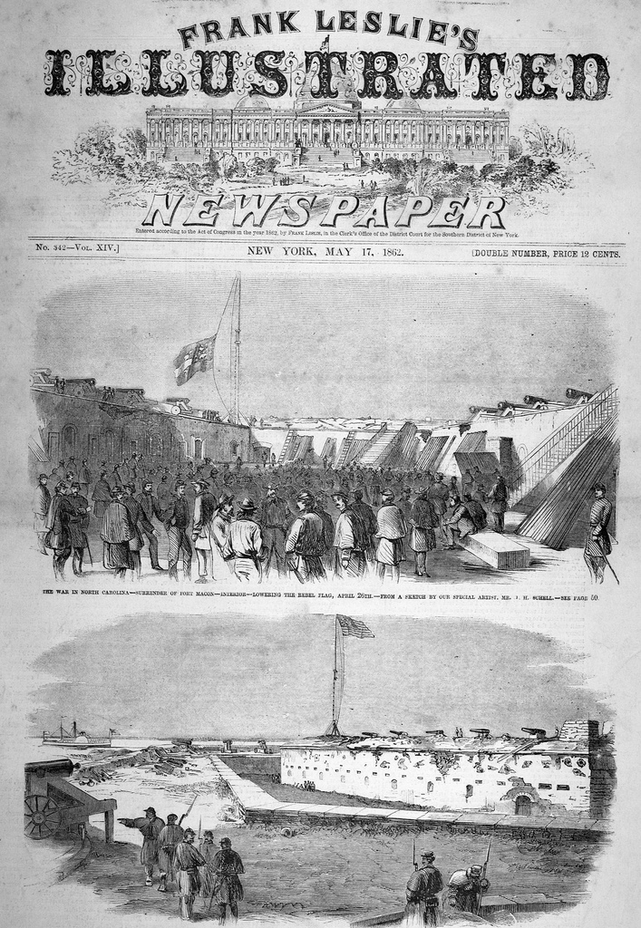 Scenes from the April 1862 surrender of Fort Macon on the cover of an issue of Frank Leslie's Illustrated Newspaper.