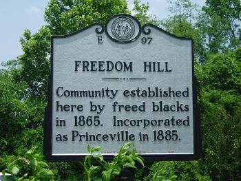 Community established here by freed blacks in 1865. Incorporated as Princeville in 1885.