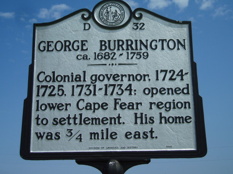Colonial governor, 1724-1725, 1731-1734: opened lower Cape Fear region to settlement. His home was 3.4 mile east.