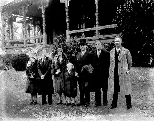 Gov. O. Max Gardner (fifth from the left in the top hat) in front of the Executive Mansion on his inauguration day in 1929.