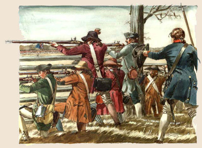 A sketch of militia at the Battle of Guilford Courthouse from the National Park Service