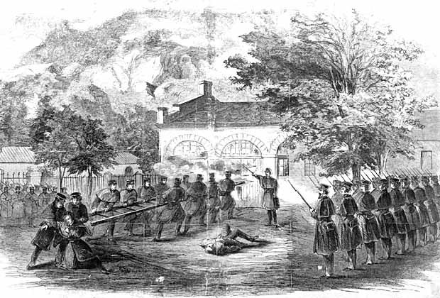 Marines attack the Harpers Ferry arsenal after it was taken by Brown's forces.